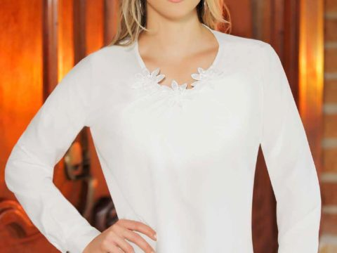 Blusa manga larga blanca ideal señoras 013873