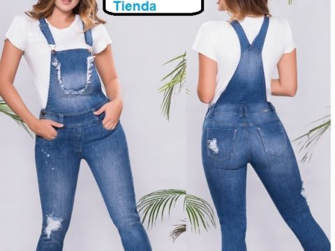 Overol Denim confort con destroyed jean clásico