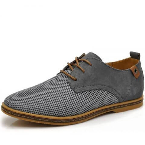 Zapato casual respirable cuero genuino con cordones