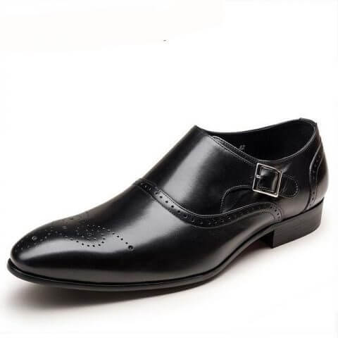 Zapato Formal Oxford Sin Cordones Con Hebilla Cuero Genuino